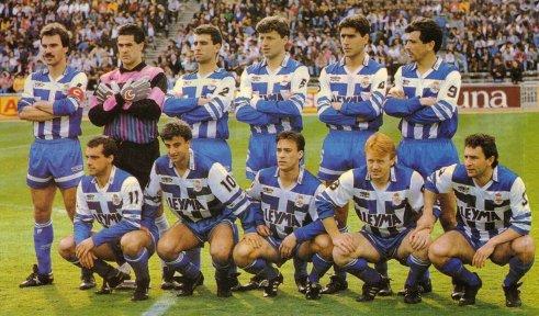 Deportivo La Coruña in the 1991/92 season. Back Row: Martín Lasarte, Yosu, Antonio, Djukic, Albistegui, Claudio. Front Row: Azpiazu, Fran, Mariano, Kiriakov, Lopez Recarte.