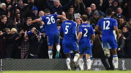 Chelsea's players celebrate John Terry's controversial 98th minute equaliser at Stamford Bridge against Everton.